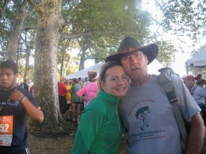 Dad and I - he always wears this hat to the race so I can find him as I run :)