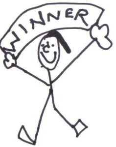 The stick figure Ethen sent me when I asked him to design something that reminded him of me for my race.